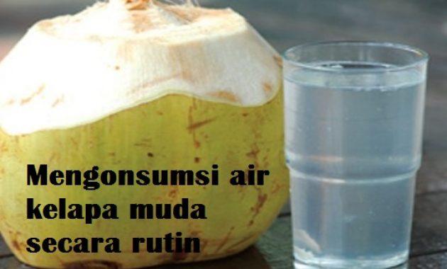 mengonsumsi air kelapa muda secara rutin